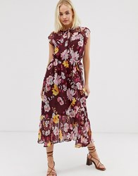 Soaked In Luxury Foral High Neck Midi Dress With Wrap Detail Multi