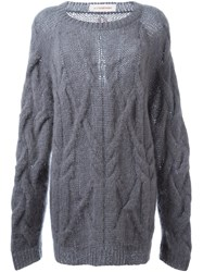 A.F.Vandevorst Oversized Cable Knit Sweater Grey
