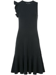 Proenza Schouler Sleeveless One Shoulder Ruffle Dress Black
