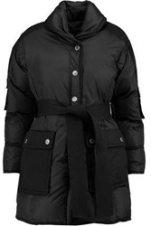 Marc By Marc Jacobs Belted Canvas Paneled Shell Down Coat Black