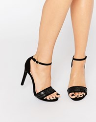 New Look Weave Detail Barely There Heeled Sandal Black