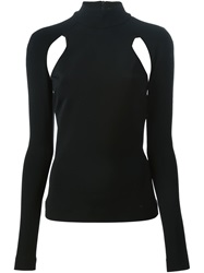 David Koma Long Sleeve Cut Out Detail Top Black