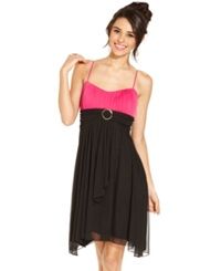 Crystal Doll Juniors Dress Spaghetti Strap Colorblock Empire Waist Black Pink
