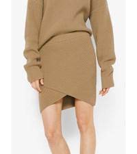 Cashmere Ribbed Surplice Skirt Chino