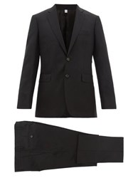 Burberry Two Piece Single Breasted Wool Blend Twill Suit Black