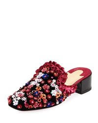Christian Louboutin Dona Viera Embroidered Suede Red Sole Mule Black Pattern