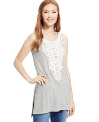 Eyeshadow Juniors' Sleeveless Crochet Panel Tunic Heather Grey