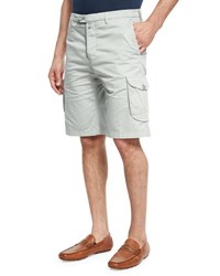 Kiton Stretch Cotton Cargo Shorts Stone Gray