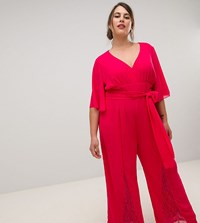 Little Mistress Plus Plunge Front Batwing Jumpsuit With Lace Insert Detail In Cherry Red