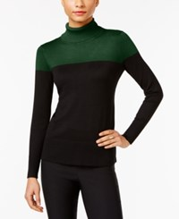 Cable And Gauge Colorblocked Turtleneck Sweater Pine Grove Black