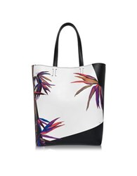 Emilio Pucci Bamboo Print Black And White Leather Tote Black White