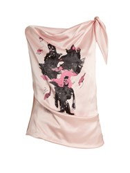 Claire Barrow Mouse Monkey Print Silk Satin Top Light Pink