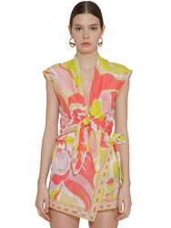Emilio Pucci Print Gauze Knot Cotton And Silk Crop Top Array 0X5784c10