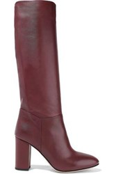 Iris And Ink Woman Ruby Leather Knee Boots Burgundy