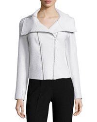 Elie Tahari Melanie Coated Tweed Moto Jacket Women's Creme