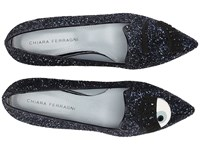 Chiara Ferragni Glitter Flirting Pointed Toe Flat Navy Women's Dress Flat Shoes