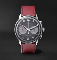 Junghans Meister Driver Chronoscope 45Mm Stainless Steel And Leather Watch Ref. No. 027 3685.00 Gray