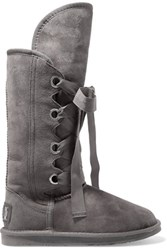 Australia Luxe Collective Bedouin Tall Lace Up Shearling Knee Boots Gray