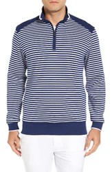 Bobby Jones Men's Stripe Quarter Zip Sweater Summer Navy