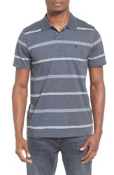 Volcom Men's Wowzer Stripe Jersey Polo Navy