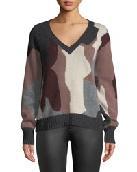 360 Sweater Cayenne V Neck Camo Skull Cashmere Gray Pattern