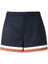 Loveless Striped Hem Shorts Blue