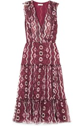 Altuzarra Jorma Ruffled Printed Silk Georgette Midi Dress Purple