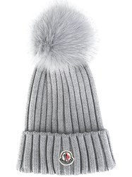 Moncler Bobble Top Beanie Grey