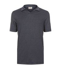 Armani Collezioni Spread Collar Printed Polo Shirt Male Grey
