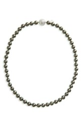 Majorica Women's 8Mm Round Simulated Pearl Strand Necklace Grey