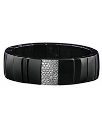 Roberto Demeglio Domino Black Ceramic Stretch Bracelet With Diamonds