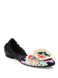 Roger Vivier Floral Leather And Canvas Ballerina Chips Flats