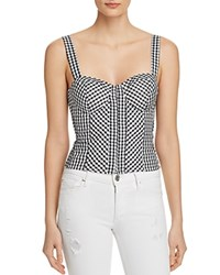Guess Gingham Bustier Top Jet Black Pure White