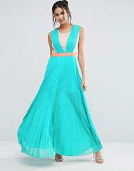 Jovonna Jovanna Neontown Pleated Maxi Dress Turquise Green