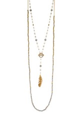 Chan Luu Feather Pendant Toggle Detail Beaded Layered Necklace Blue