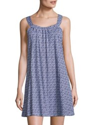 Saks Fifth Avenue Collection Geometric Printed Knit Dress Blue White Pink White