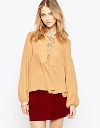 Influence Lace Front Long Sleeve Top Camel