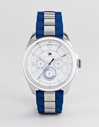 Tommy Hilfiger Darcy Watch In Silver Silver Navy