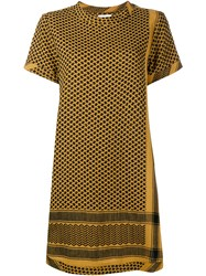 Cecilie Copenhagen Keffiyeh Cotton Short Sleeve Dress Black Brown Yellow White Blue Denim