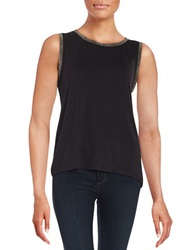 Anne Klein Metallic Trimmed Tank Black