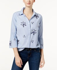 Charter Club Cotton Embellished Bell Sleeve Shirt Created For Macy's Classic Blue Combo