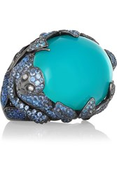 Lydia Courteille 18 Karat Blackened White Gold Multi Stone Ring Turquoise