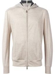 John Varvatos Zip Front Knit Hoodie Nude And Neutrals