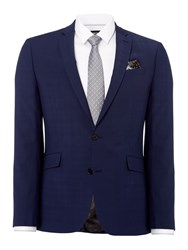 Kenneth Cole Men's Luxo Slim Fit Tonal Checked Suit Jacket Navy