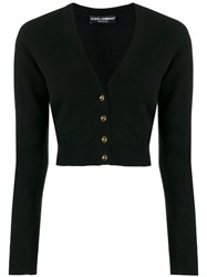 Dolce And Gabbana Cropped V Neck Cardigan Black