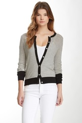 Shae Leather Panel Striped Cardigan White