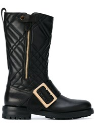 Burberry Quilted Buckle Boots Women Leather Rubber 38 Black