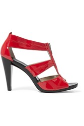 Michael Michael Kors Berkley Cutout Patent Leather Sandals Red