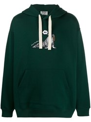 Acne Studios Animal Embroidered Hoodie Green