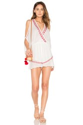 Band Of Gypsies Moroccan Embroidered Playsuit White
